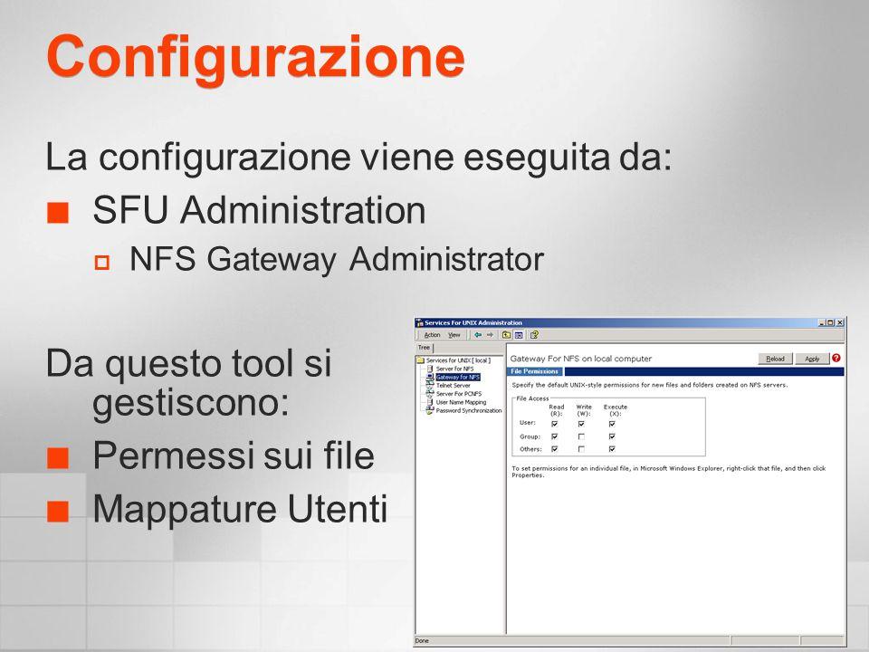 Configurazione La configurazione viene eseguita da: SFU Administration NFS Gateway Administrator Da questo tool si gestiscono: Permessi sui file Mappature Utenti