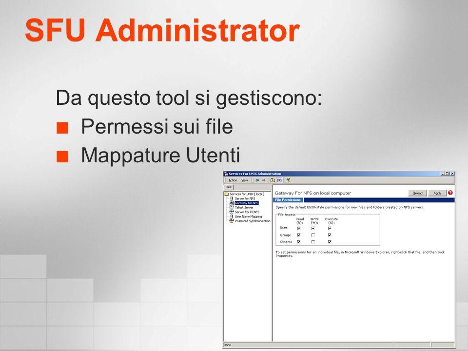 SFU Administrator Da questo tool si gestiscono: Permessi sui file Mappature Utenti