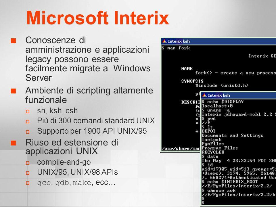 Microsoft Interix Conoscenze di amministrazione e applicazioni legacy possono essere facilmente migrate a Windows Server Ambiente di scripting altamente funzionale sh, ksh, csh Più di 300 comandi standard UNIX Supporto per 1900 API UNIX/95 Riuso ed estensione di applicazioni UNIX compile-and-go UNIX/95, UNIX/98 APIs gcc, gdb, make, ecc…