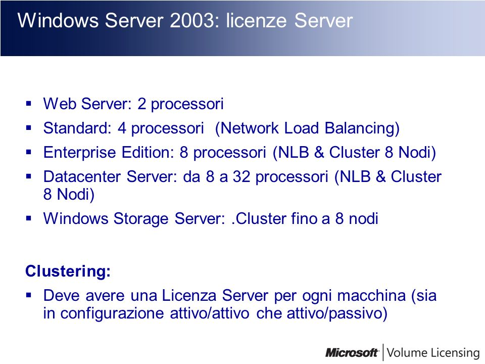 Disponibilità Client Access License (CAL) Device CAL (CAL Dispositivo) : Core CAL = Windows CAL + Exchange CAL + SMS CAL + SharePoint CAL Exchange Server Project Server SharePoint Portal Server Small Business Server SQL Server Systems Management Server Windows Server Windows Terminal Server User CAL (CAL Utente): Core Cal Windows Server 2003 Exchange Server 2003 Small Business Server 2003 SQL Server SharePoint Portal Server Project Server
