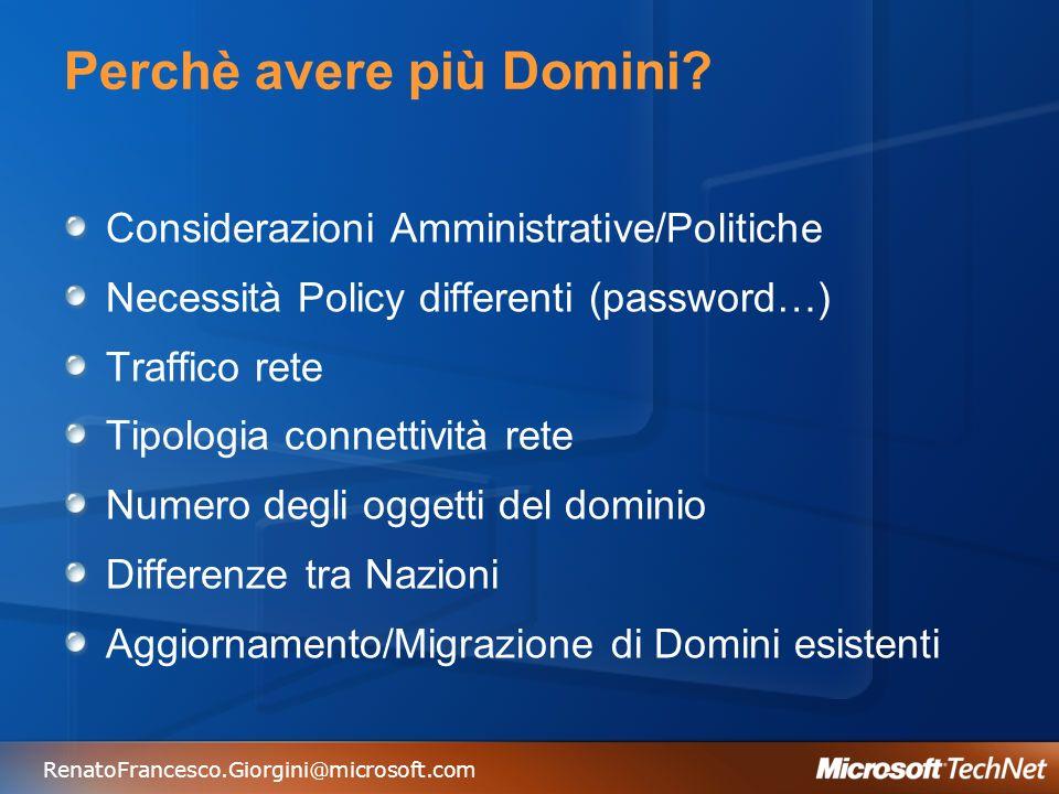 RenatoFrancesco.Giorgini@microsoft.com Perchè avere più Domini? Considerazioni Amministrative/Politiche Necessità Policy differenti (password…) Traffi