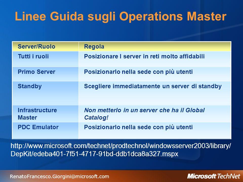 RenatoFrancesco.Giorgini@microsoft.com Linee Guida sugli Operations Master Server/RuoloRegola Tutti i ruoliPosizionare I server in reti molto affidabi