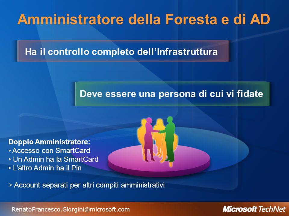 RenatoFrancesco.Giorgini@microsoft.com Amministratore della Foresta e di AD Ha il controllo completo dellInfrastruttura Deve essere una persona di cui