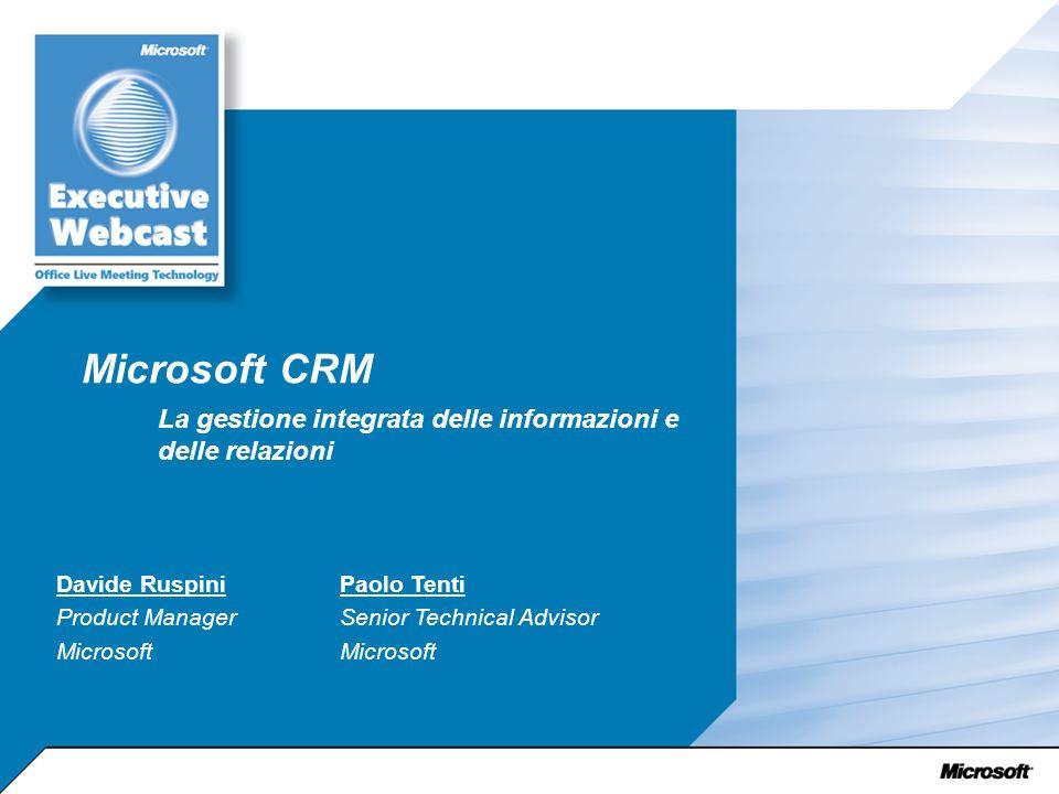 Microsoft CRM La gestione integrata delle informazioni e delle relazioni Davide Ruspini Product Manager Microsoft Paolo Tenti Senior Technical Advisor