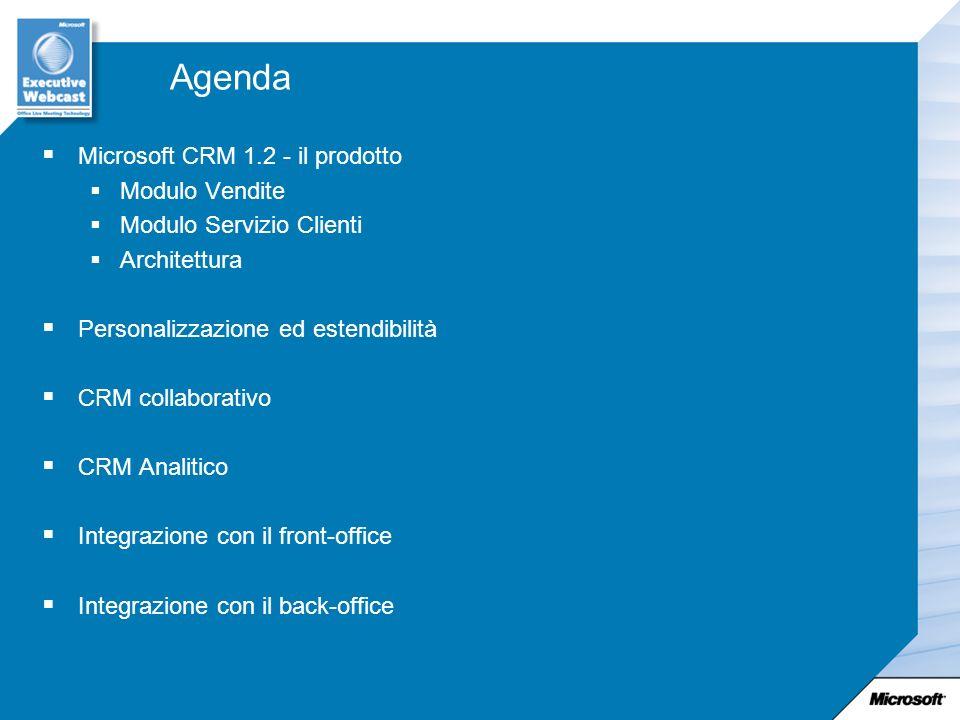Agenda Microsoft CRM 1.2 - il prodotto Modulo Vendite Modulo Servizio Clienti Architettura Personalizzazione ed estendibilità CRM collaborativo CRM An