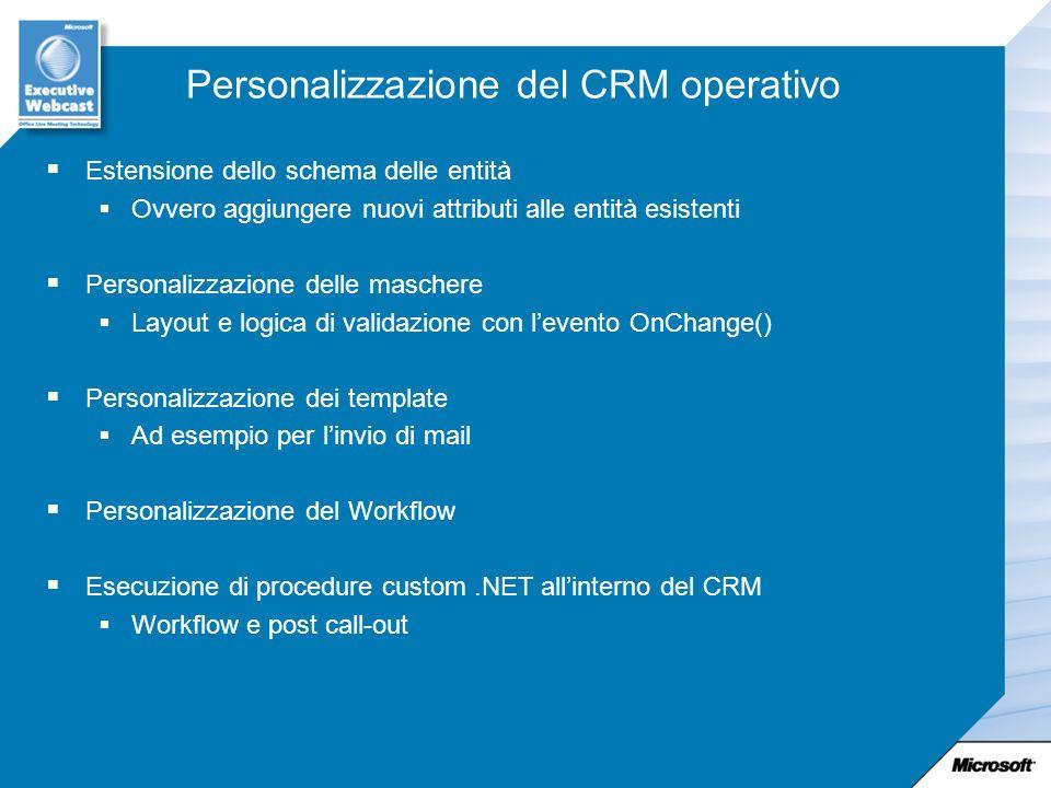 Personalizzazione del CRM operativo Estensione dello schema delle entità Ovvero aggiungere nuovi attributi alle entità esistenti Personalizzazione del