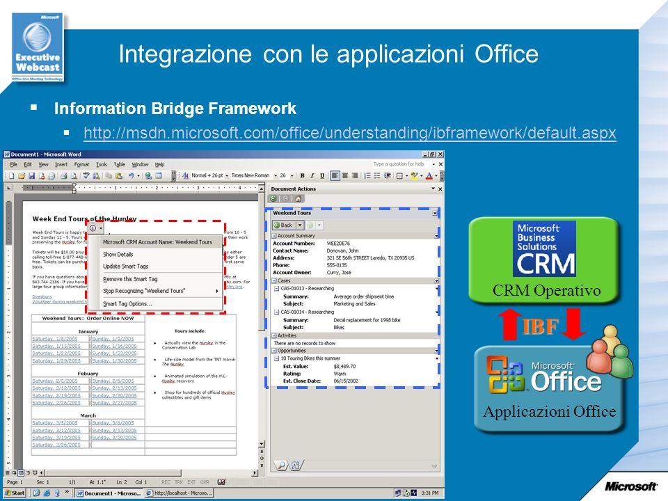 Integrazione con le applicazioni Office Information Bridge Framework http://msdn.microsoft.com/office/understanding/ibframework/default.aspx CRM Opera