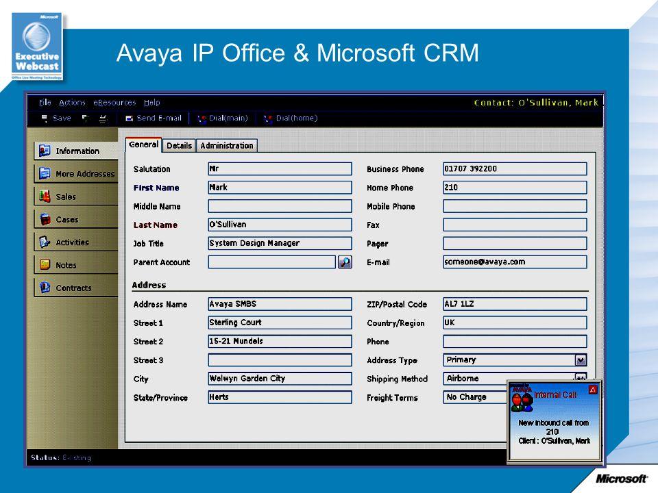 Avaya IP Office & Microsoft CRM