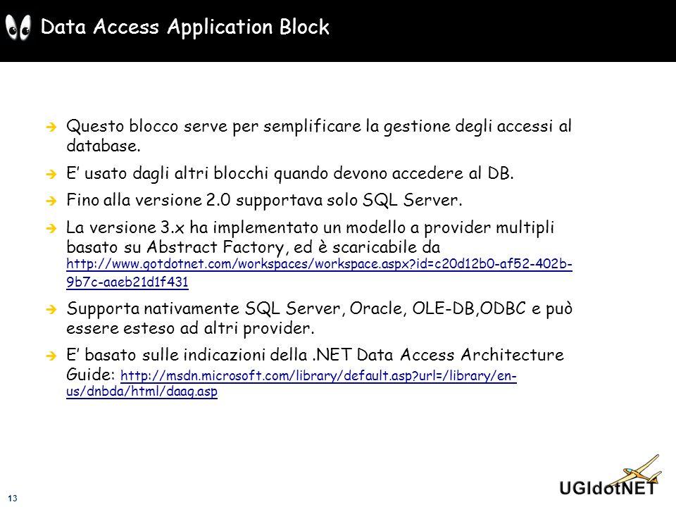 13 Data Access Application Block Questo blocco serve per semplificare la gestione degli accessi al database. E usato dagli altri blocchi quando devono