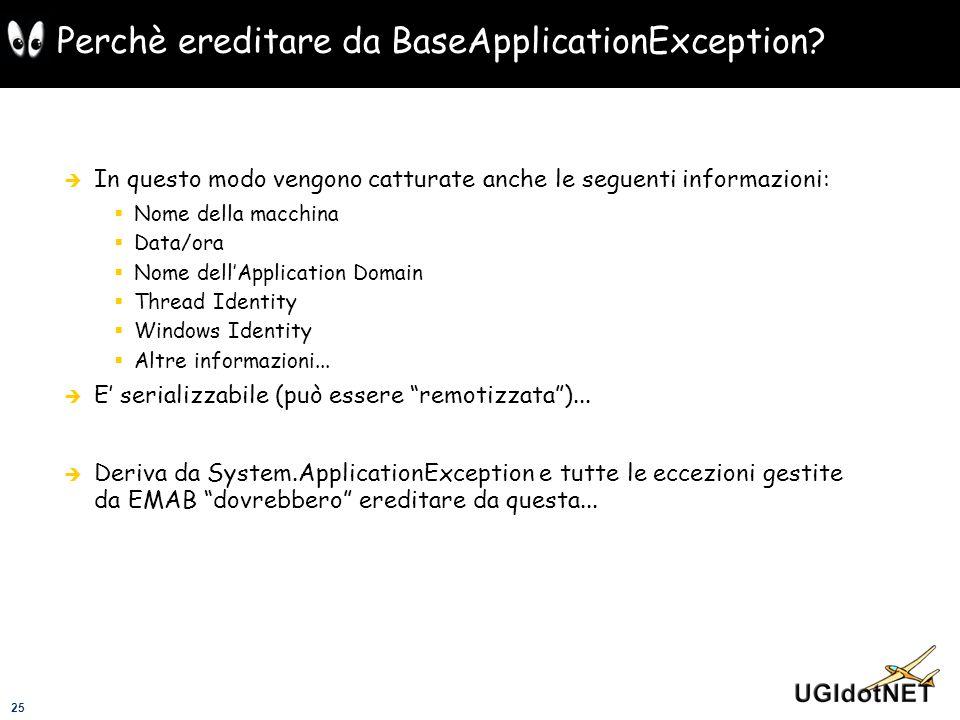 25 Perchè ereditare da BaseApplicationException? In questo modo vengono catturate anche le seguenti informazioni: Nome della macchina Data/ora Nome de