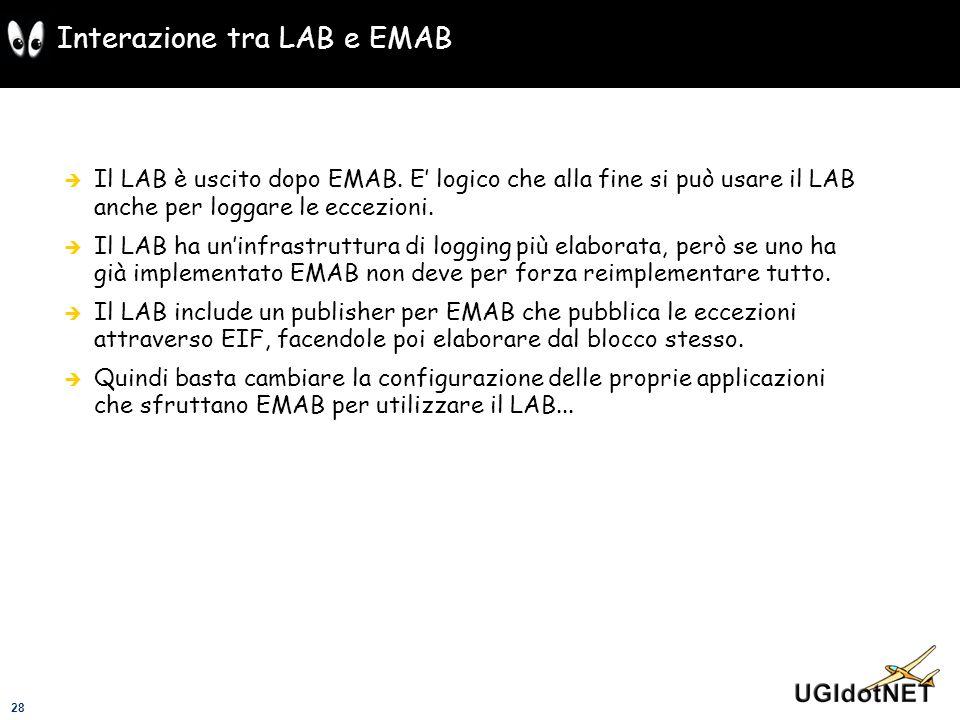 28 Interazione tra LAB e EMAB Il LAB è uscito dopo EMAB. E logico che alla fine si può usare il LAB anche per loggare le eccezioni. Il LAB ha uninfras