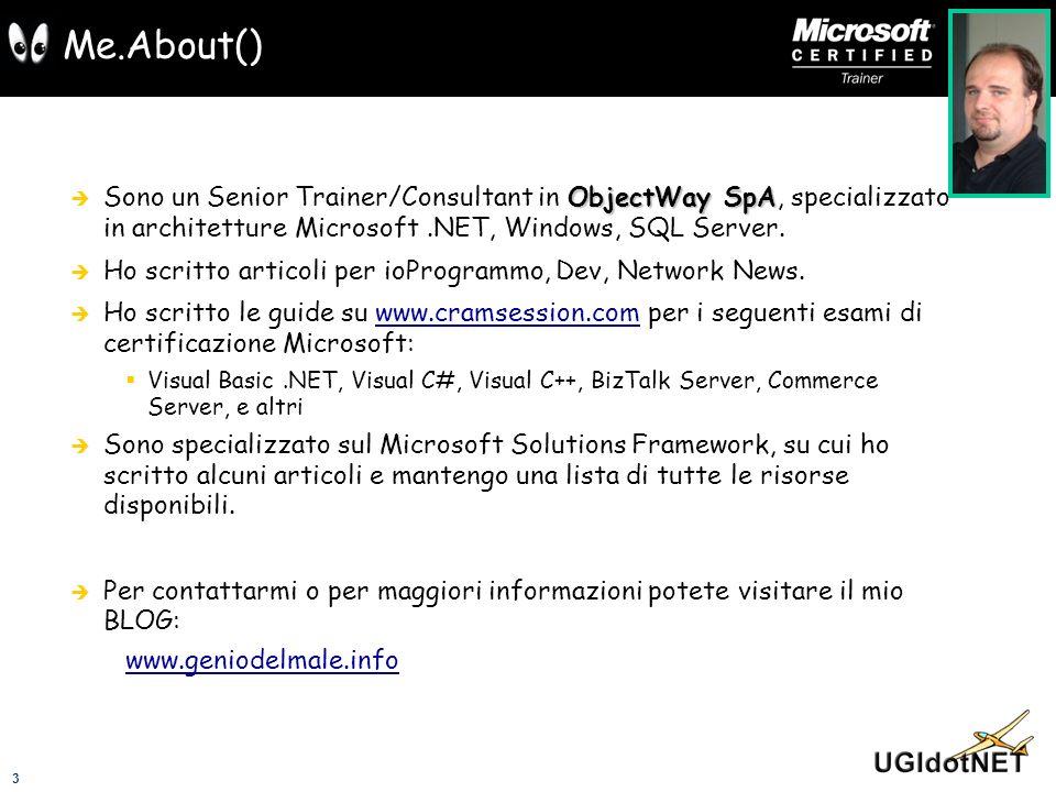 3 Me.About() ObjectWay SpA Sono un Senior Trainer/Consultant in ObjectWay SpA, specializzato in architetture Microsoft.NET, Windows, SQL Server. Ho sc