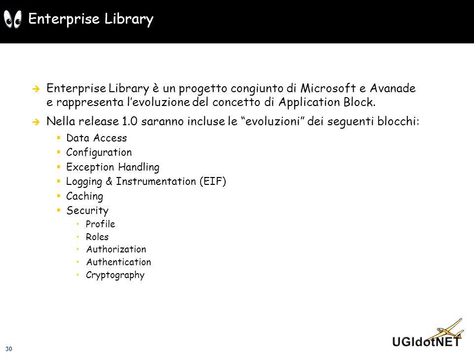 30 Enterprise Library Enterprise Library è un progetto congiunto di Microsoft e Avanade e rappresenta levoluzione del concetto di Application Block. N
