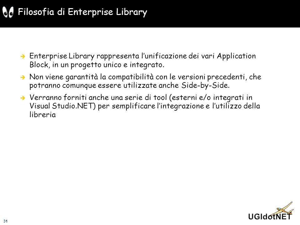31 Filosofia di Enterprise Library Enterprise Library rappresenta lunificazione dei vari Application Block, in un progetto unico e integrato. Non vien