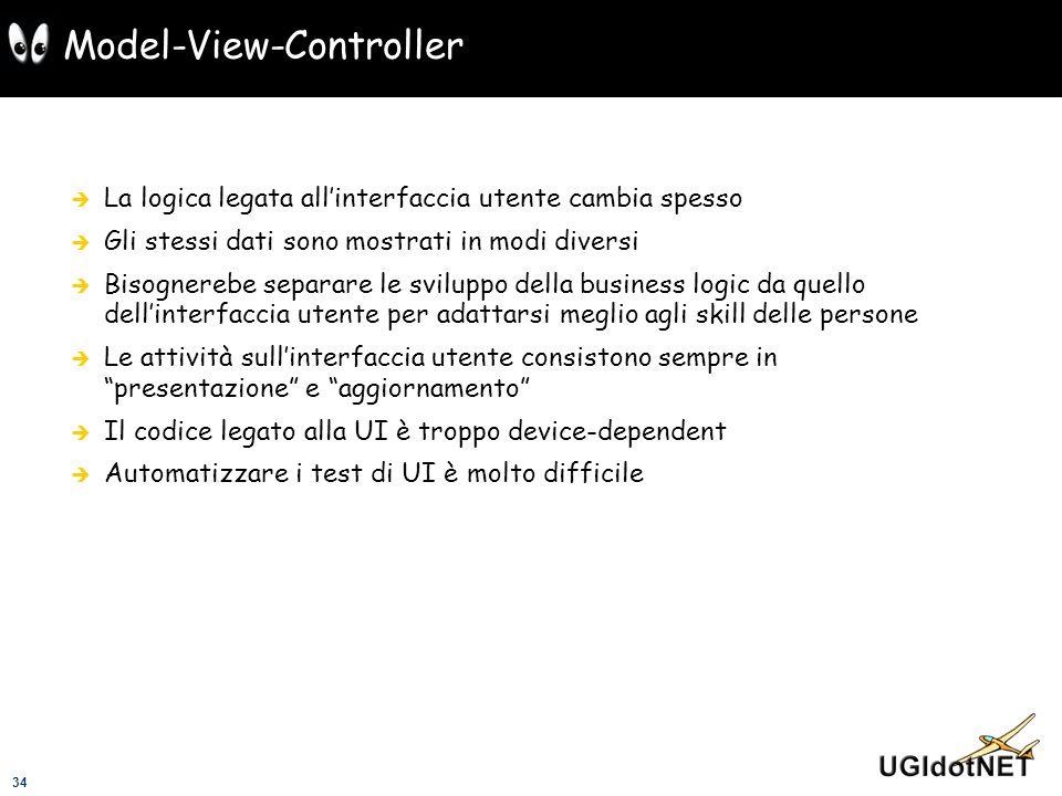 34 Model-View-Controller La logica legata allinterfaccia utente cambia spesso Gli stessi dati sono mostrati in modi diversi Bisognerebe separare le sv