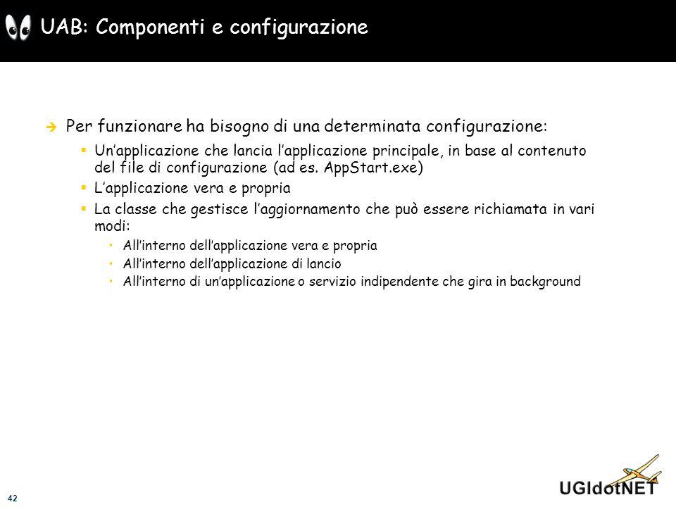 42 UAB: Componenti e configurazione Per funzionare ha bisogno di una determinata configurazione: Unapplicazione che lancia lapplicazione principale, i