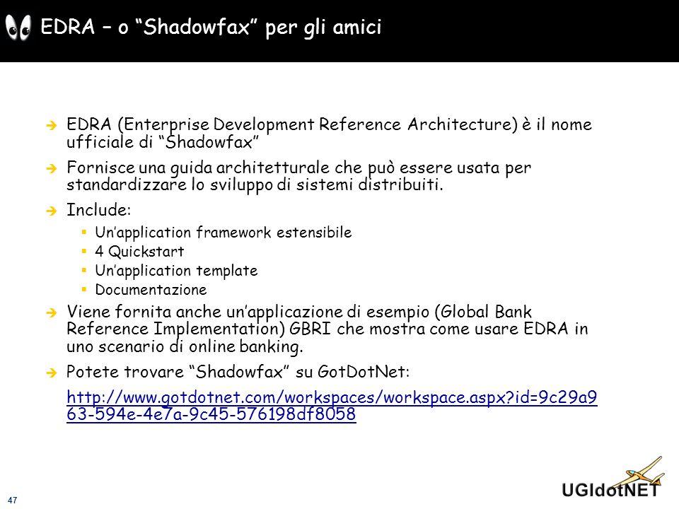47 EDRA – o Shadowfax per gli amici EDRA (Enterprise Development Reference Architecture) è il nome ufficiale di Shadowfax Fornisce una guida architett