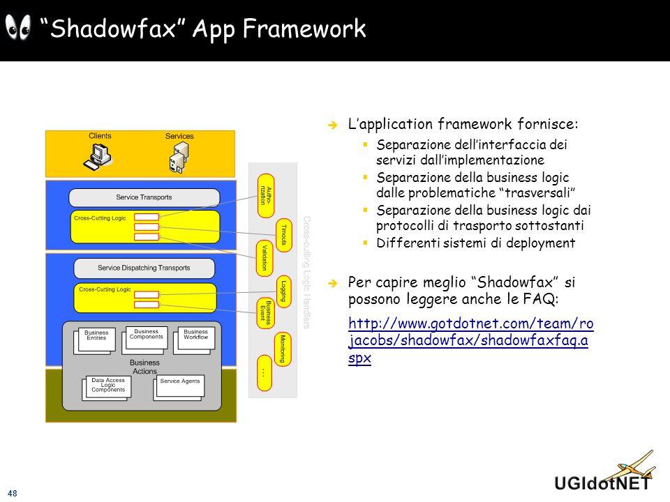 48 Shadowfax App Framework Lapplication framework fornisce: Separazione dellinterfaccia dei servizi dallimplementazione Separazione della business log