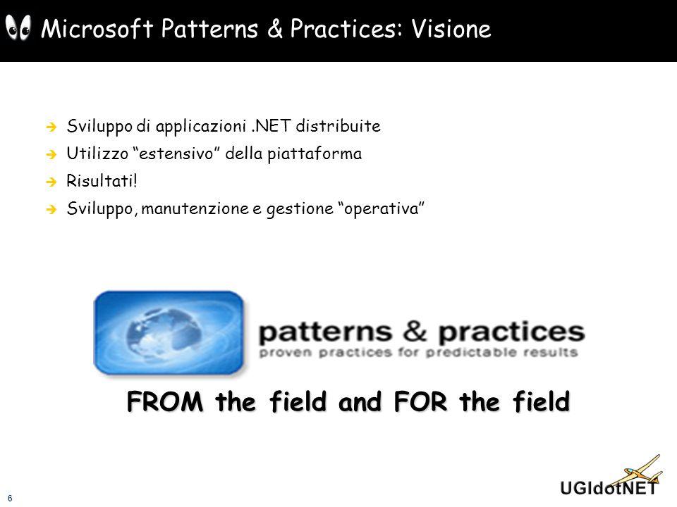 6 Microsoft Patterns & Practices: Visione Sviluppo di applicazioni.NET distribuite Utilizzo estensivo della piattaforma Risultati! Sviluppo, manutenzi