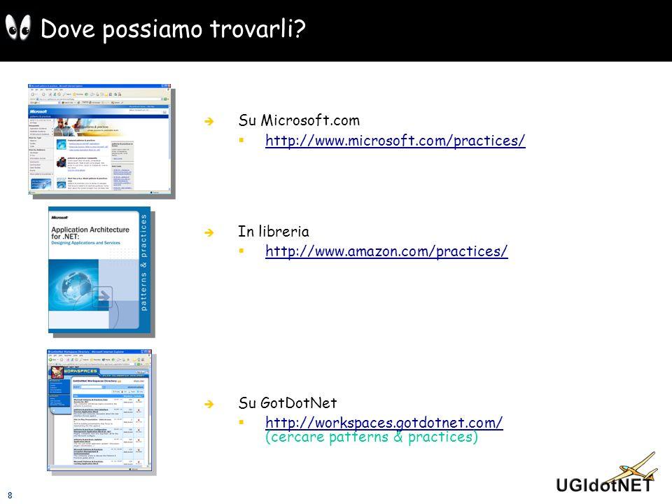 8 Dove possiamo trovarli? Su Microsoft.com http://www.microsoft.com/practices/ In libreria http://www.amazon.com/practices/ Su GotDotNet http://worksp