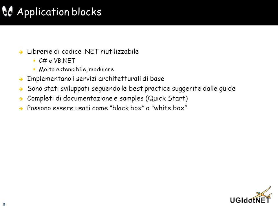 9 Application blocks Librerie di codice.NET riutilizzabile C# e VB.NET Molto estensibile, modulare Implementano i servizi architetturali di base Sono