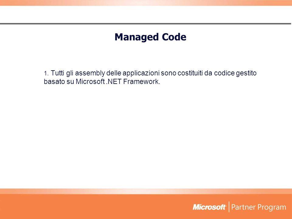 1. Tutti gli assembly delle applicazioni sono costituiti da codice gestito basato su Microsoft.NET Framework. Managed Code