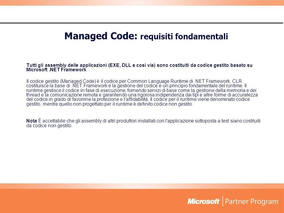 Tutti gli assembly delle applicazioni (EXE, DLL e così via) sono costituiti da codice gestito basato su Microsoft.NET Framework Il codice gestito (Managed Code) è il codice per Common Language Runtime di.NET Framework.