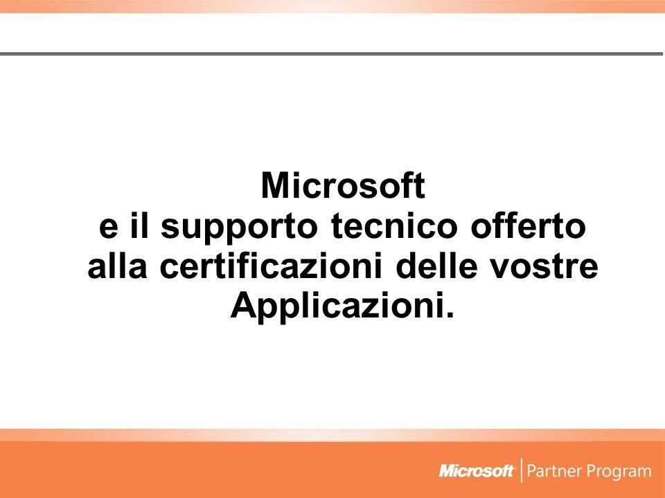 Microsoft e il supporto tecnico offerto alla certificazioni delle vostre Applicazioni.