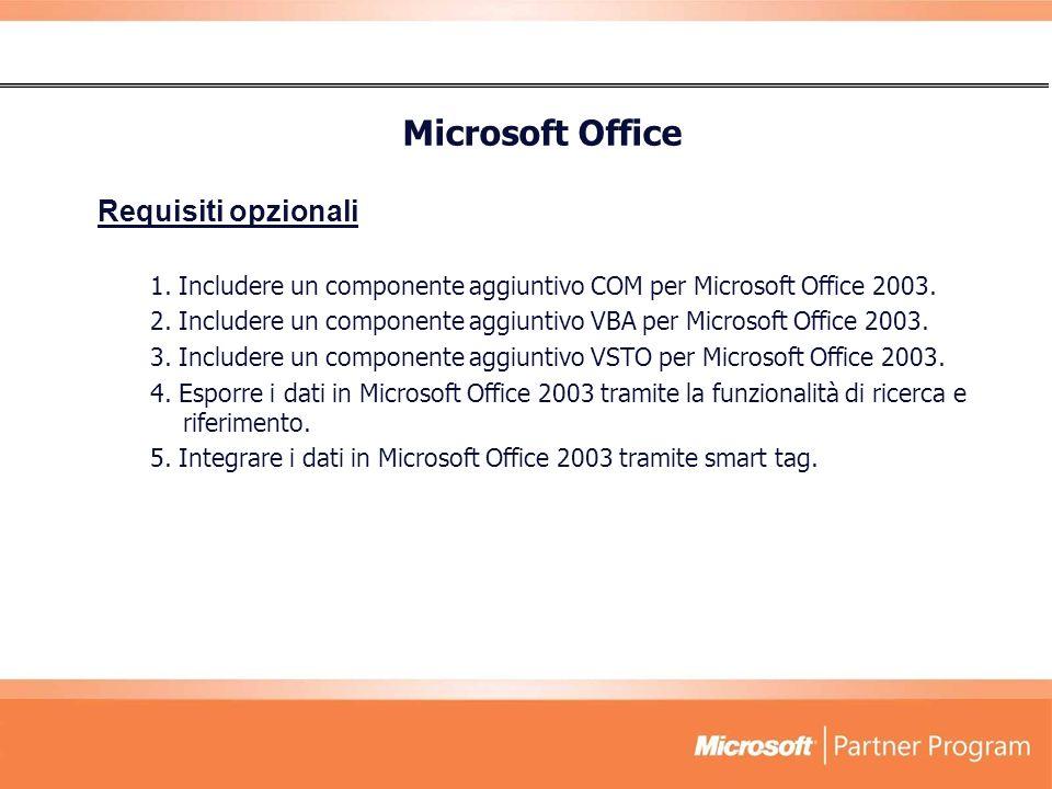 Requisiti opzionali 1.Includere un componente aggiuntivo COM per Microsoft Office 2003.