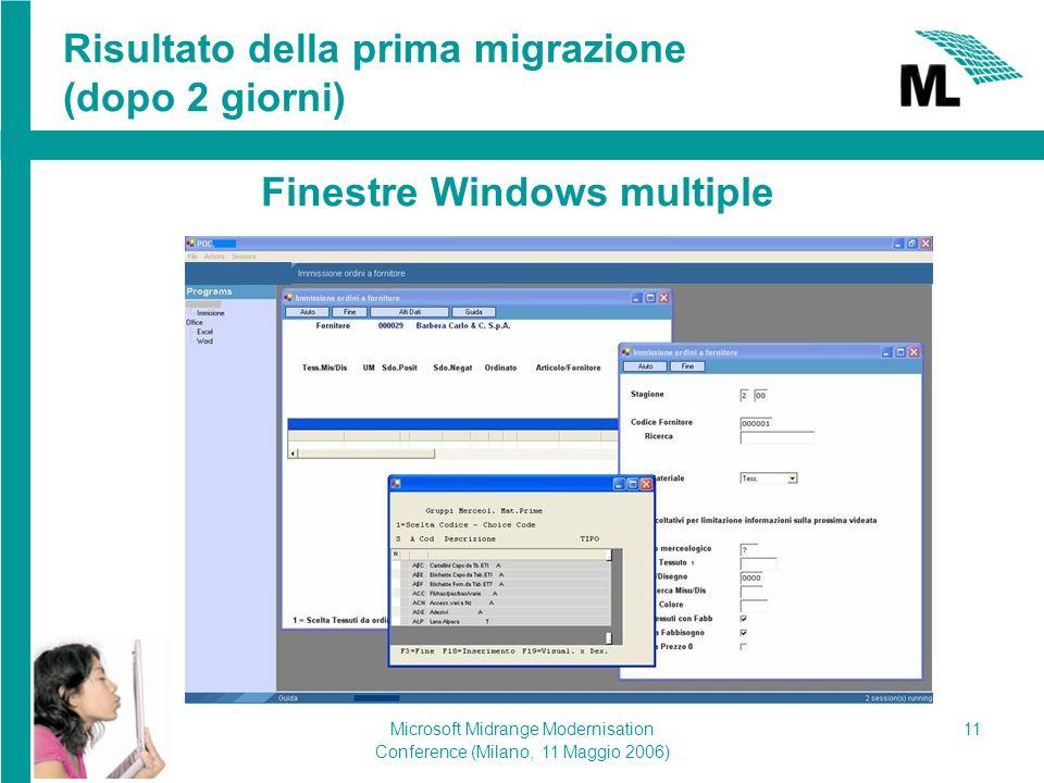 Microsoft Midrange Modernisation Conference (Milano, 11 Maggio 2006) 11 Risultato della prima migrazione (dopo 2 giorni) Finestre Windows multiple