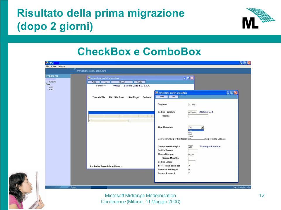 Microsoft Midrange Modernisation Conference (Milano, 11 Maggio 2006) 12 Risultato della prima migrazione (dopo 2 giorni) CheckBox e ComboBox