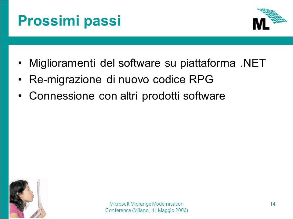 Microsoft Midrange Modernisation Conference (Milano, 11 Maggio 2006) 14 Prossimi passi Miglioramenti del software su piattaforma.NET Re-migrazione di nuovo codice RPG Connessione con altri prodotti software