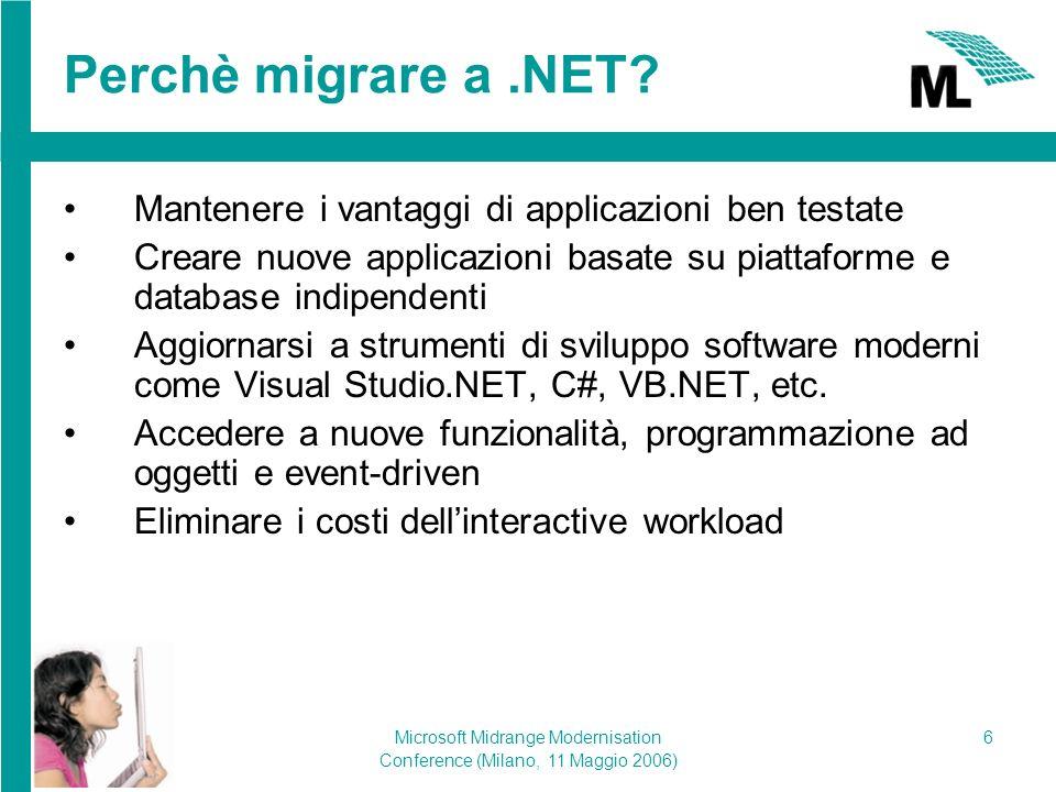 Microsoft Midrange Modernisation Conference (Milano, 11 Maggio 2006) 7 oRPG – Soluzione per la migrazione di ML Sorgenti: C#,VB.NET,...