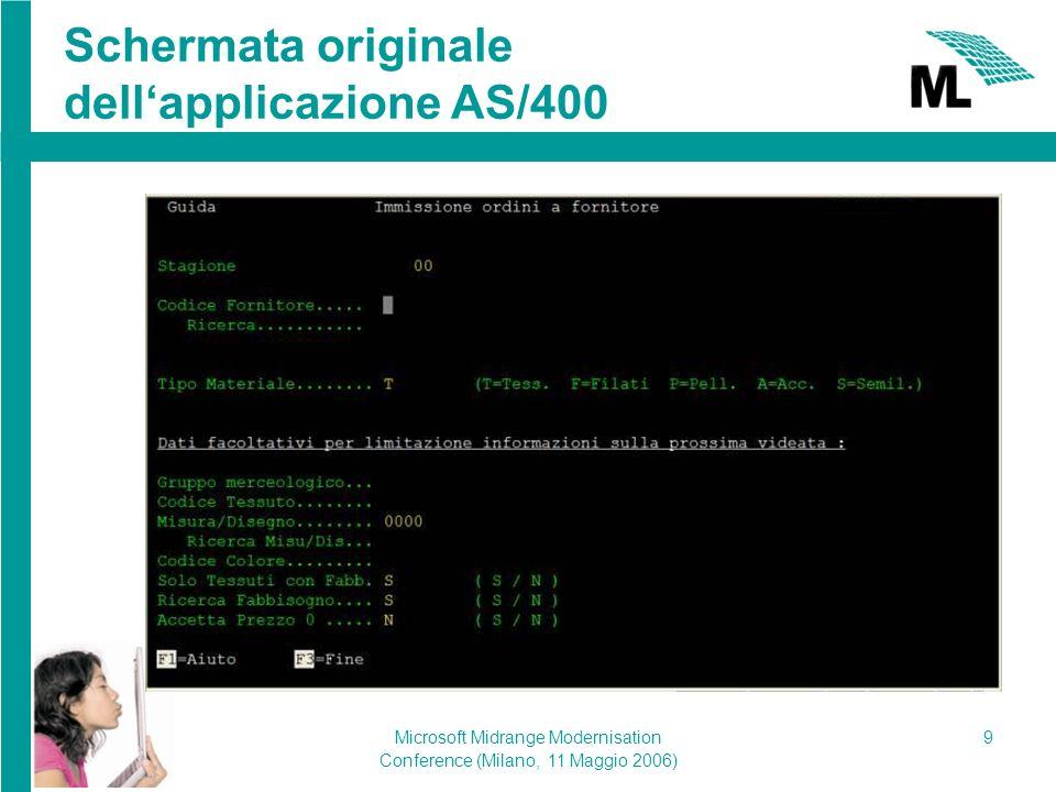 Microsoft Midrange Modernisation Conference (Milano, 11 Maggio 2006) 9 Schermata originale dellapplicazione AS/400