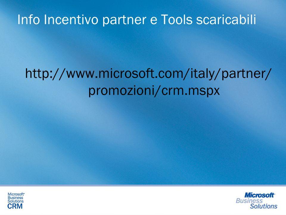 Info Incentivo partner e Tools scaricabili http://www.microsoft.com/italy/partner/ promozioni/crm.mspx