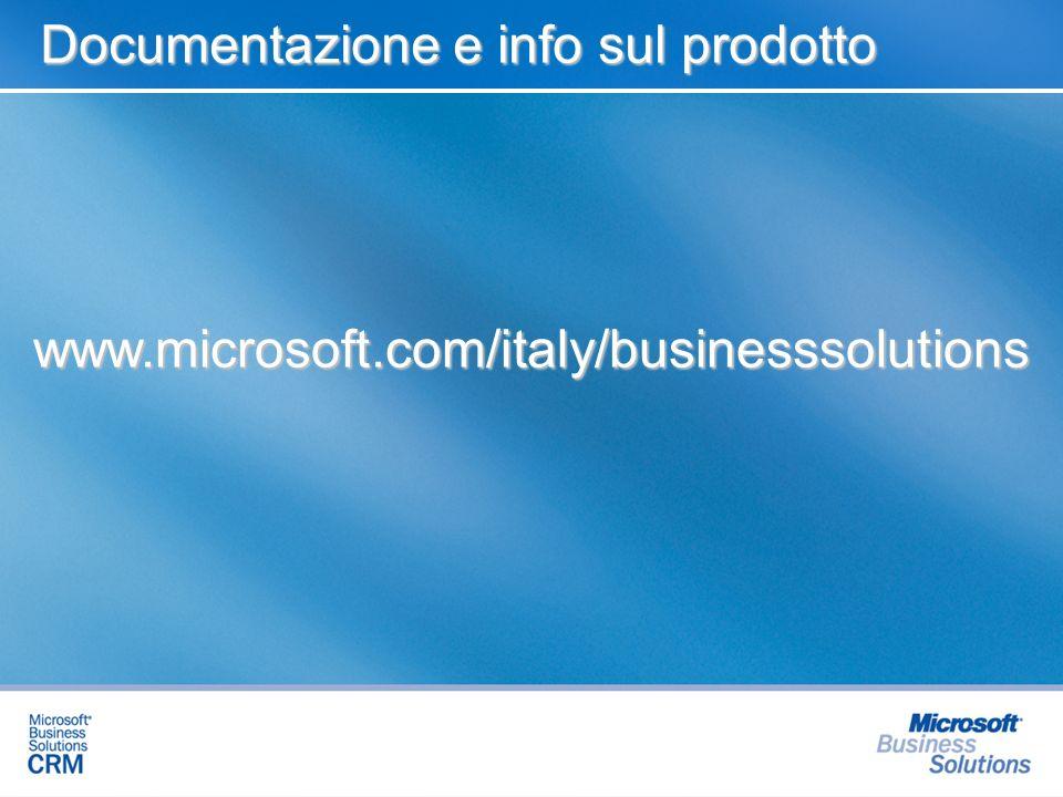 www.microsoft.com/italy/businesssolutions Documentazione e info sul prodotto