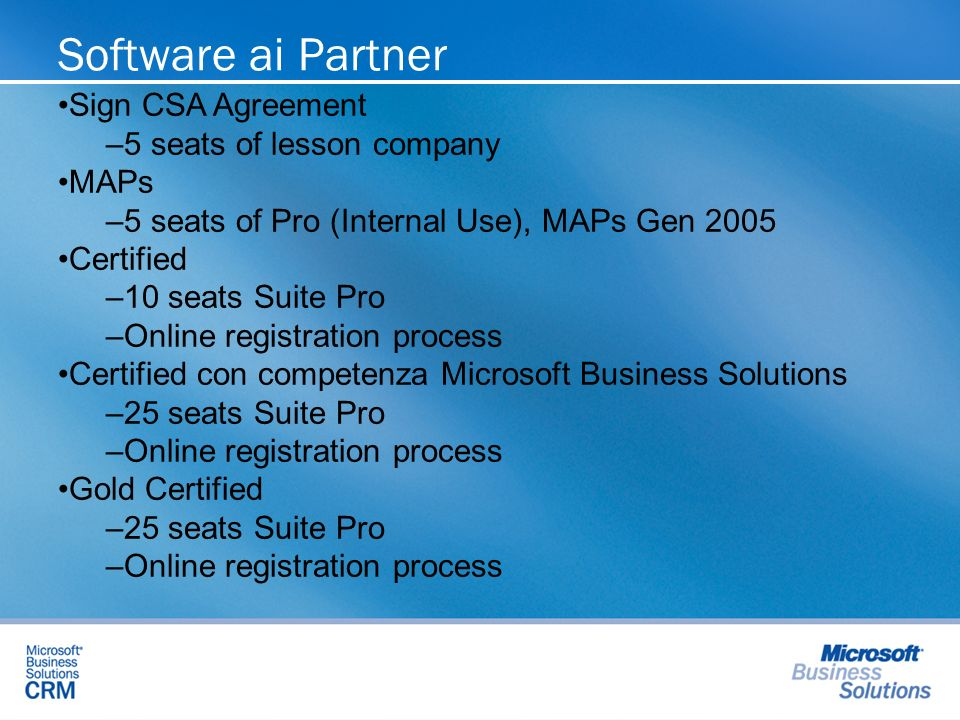 Software ai Partner Sign CSA Agreement – –5 seats of lesson company MAPs – –5 seats of Pro (Internal Use), MAPs Gen 2005 Certified – –10 seats Suite P