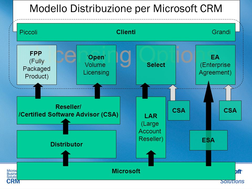 Modello Distribuzione per Microsoft CRM Microsoft Licensing Options EA (Enterprise Agreement) Clienti FPP (Fully Packaged Product) Open Volume Licensi
