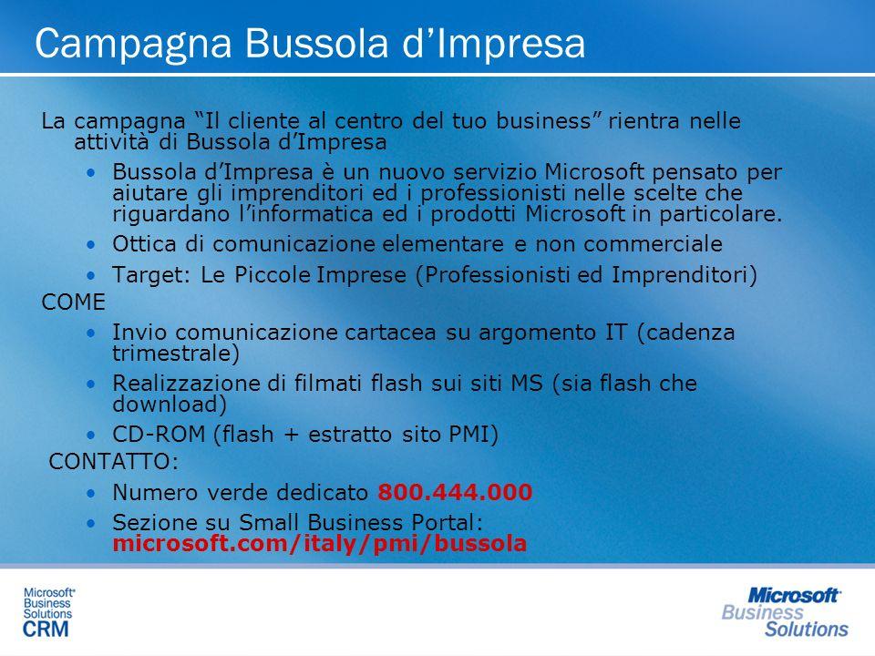 Campagna Bussola dImpresa La campagna Il cliente al centro del tuo business rientra nelle attività di Bussola dImpresa Bussola dImpresa è un nuovo servizio Microsoft pensato per aiutare gli imprenditori ed i professionisti nelle scelte che riguardano linformatica ed i prodotti Microsoft in particolare.
