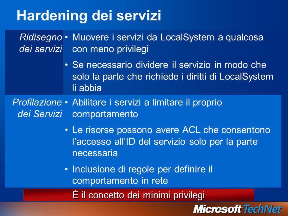 Hardening dei servizi Ridisegno dei servizi Muovere i servizi da LocalSystem a qualcosa con meno privilegi Se necessario dividere il servizio in modo