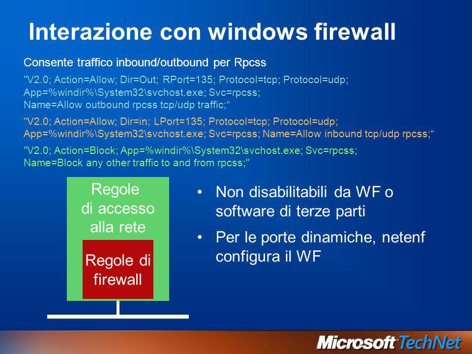 Regole di accesso alla rete Interazione con windows firewall Non disabilitabili da WF o software di terze parti Per le porte dinamiche, netenf configu
