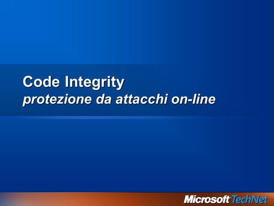 Code integrity Valida lintegrità di ogni immagine binaria Verifica hash per ogni pagina al caricamento Verifica ogni immagine caricata in un processo protetto Implementato come un filtro del file system Hash salvati nel system catalog o in certificati X.509 inseriti nel file Verifica anche lintegrità del processo di boot kernel, HAL, driver di boot-start Se la verifica fallisce il sistema non si avvia Binari di WindowsSi Driver certificati di terze parti (WHQL)Si Driver non firmatiDa policy Binari di applicazioni di terze partiNo