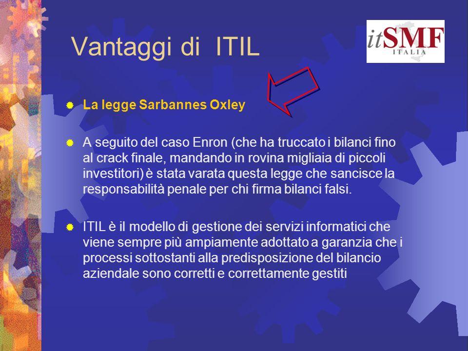 Vantaggi di ITIL La legge Sarbannes Oxley A seguito del caso Enron (che ha truccato i bilanci fino al crack finale, mandando in rovina migliaia di pic