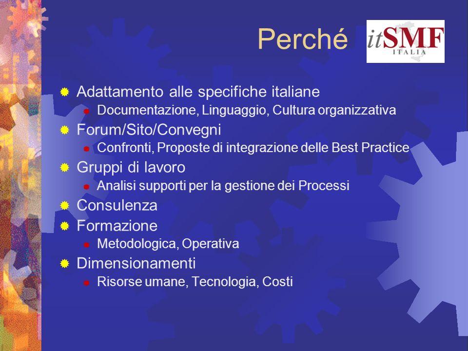 Perché Adattamento alle specifiche italiane Documentazione, Linguaggio, Cultura organizzativa Forum/Sito/Convegni Confronti, Proposte di integrazione