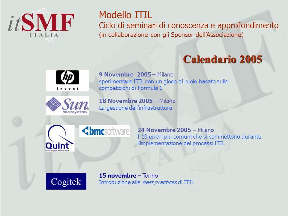 9 Novembre 2005 – Milano sperimentare ITIL con un gioco di ruolo basato sulle competizioni di Formula 1 18 Novembre 2005 – Milano La gestione dellinfr