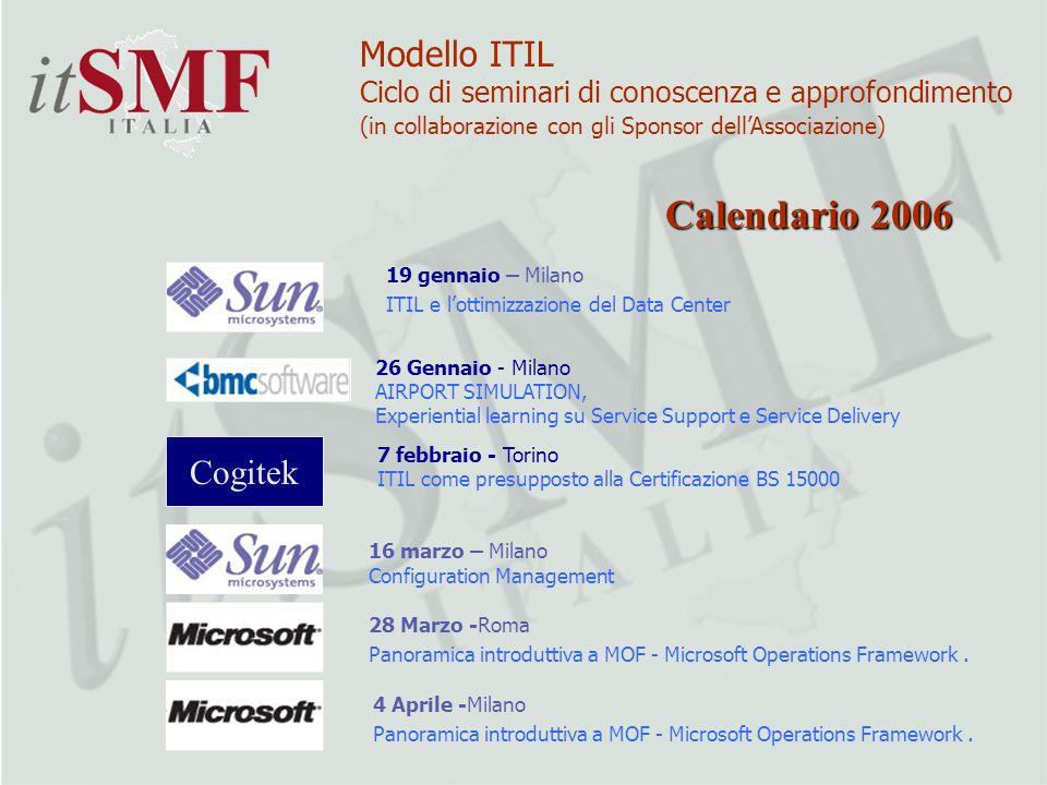 19 gennaio – Milano ITIL e lottimizzazione del Data Center 16 marzo – Milano Configuration Management 28 Marzo -Roma Panoramica introduttiva a MOF - M