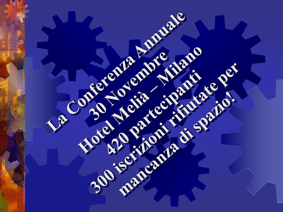 La Conferenza Annuale 30 Novembre Hotel Melià – Milano 420 partecipanti 300 iscrizioni rifiutate per mancanza di spazio! La Conferenza Annuale 30 Nove