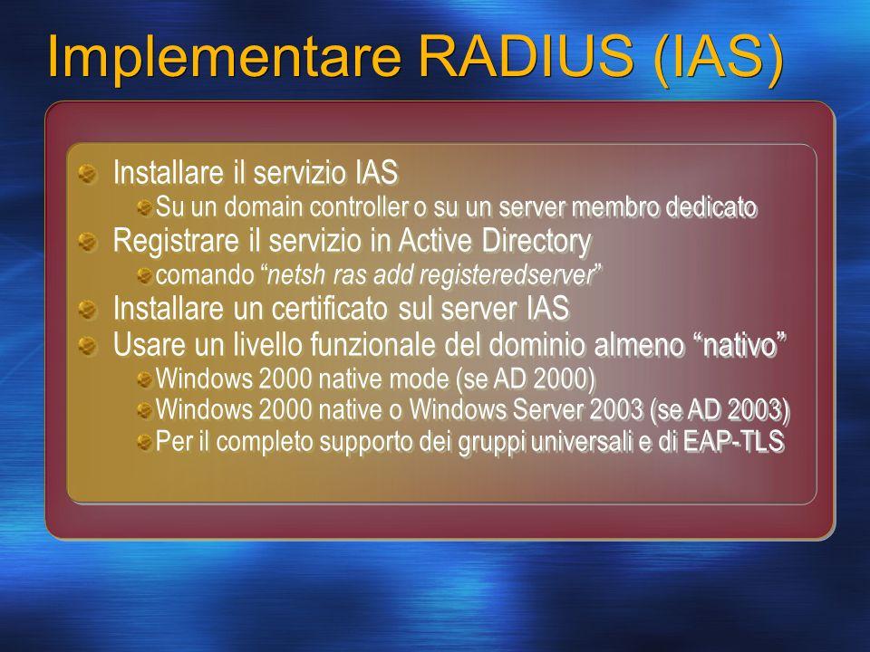 Implementare RADIUS (IAS) Installare il servizio IAS Su un domain controller o su un server membro dedicato Registrare il servizio in Active Directory