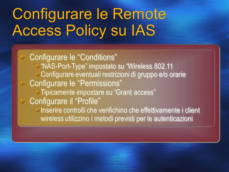 Configurare le Remote Access Policy su IAS Configurare le Conditions NAS-Port-Type impostato su Wireless 802.11 Configurare eventuali restrizioni di g