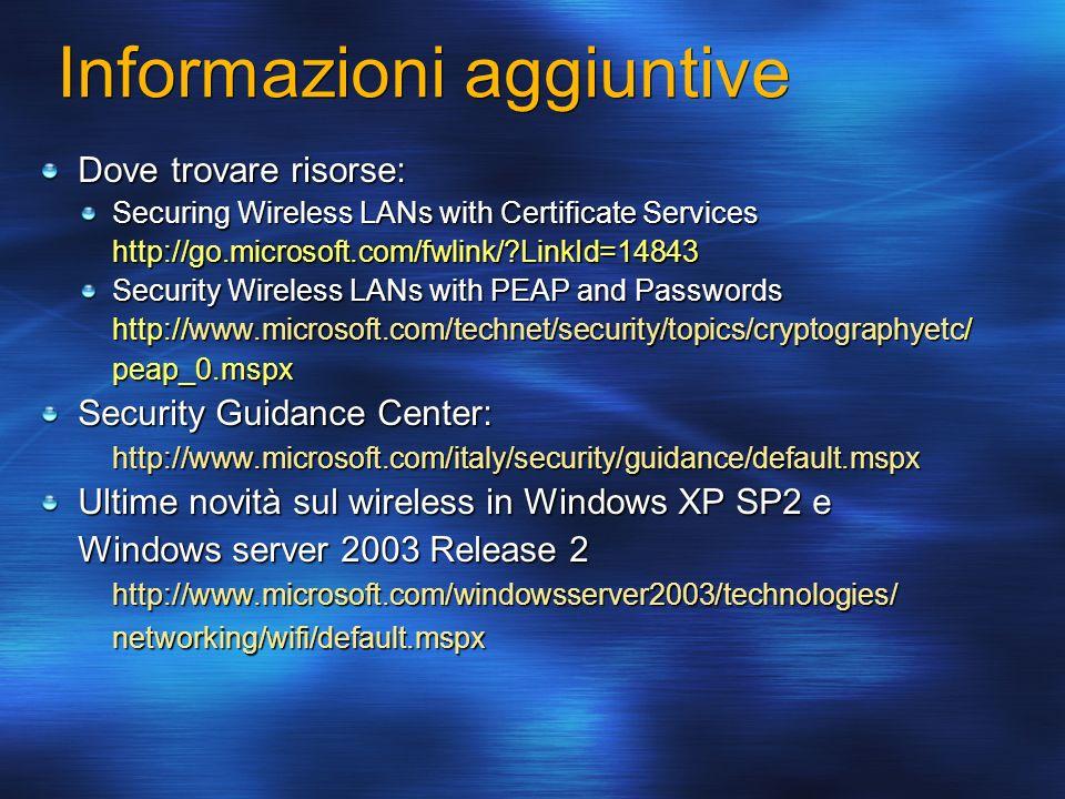Informazioni aggiuntive Dove trovare risorse: Securing Wireless LANs with Certificate Services http://go.microsoft.com/fwlink/?LinkId=14843 Security W